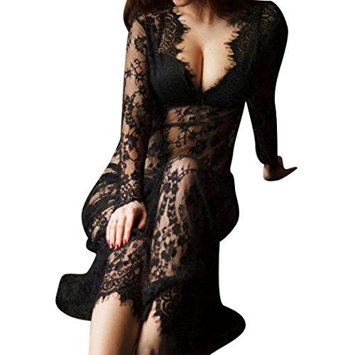 Women Beach Perspective Dress Franterd Bikini Cover-up Swimsuit Dress (XXL, Black)