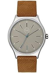 slim made one 04 - Extra slim unisex wrist watch in silver / brown