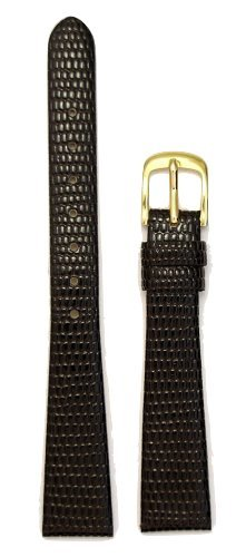 Band 10 Mm Watch (Ladies' Lizard Grain Leather Watchband Brown 10mm Watch Band)