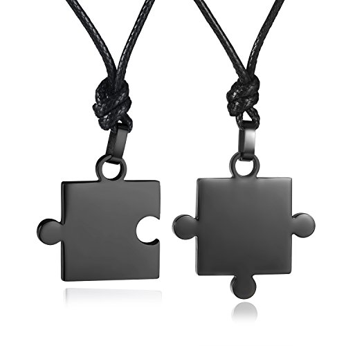 [Areke Mens Womens Couples Stainless Steel Love Puzzle Pendant Necklace Set Matching His & Hers Color] (Custom Costumes Jewelry Wholesale)