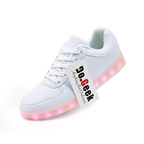 DoGeek Zapatos led (42, Blanco)