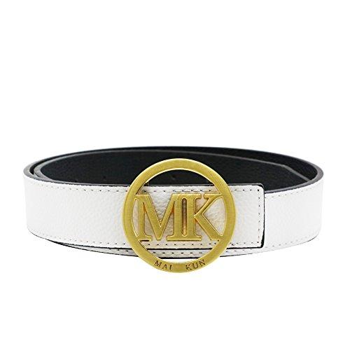 Maikun MK Letter Gold Buckle Women Men Unisex 38mm White Leather Adjustable Belt 110cm for Waist Size 32-34