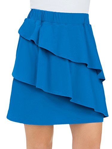 Collections Women's Tiered Asymmetric Knit Pull-On Skort Skirt with Elastic Waist, Royal Blue, Medium ()
