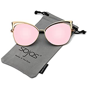SojoS Fashion Cat Eye Style Metal Frame Women Sunglasses Lady Glasses SJ3163 With Gold Frame/Pink Mirrored Lens