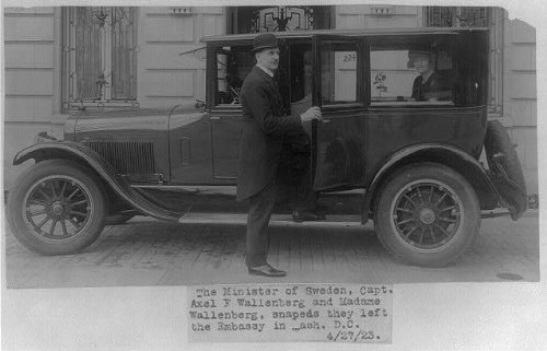 Photo: Axel F. Wallenberg,Automobile,Auto,in front of Swedish Embassy,Washington,DC