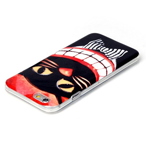 PowerQ Bunte Muster Serie Malerei Zeichnung Colorful Pattern TPU Fall Case Hülle < Tooth Grin Black Cat   für IPhone 5S 5 5G SE IPhone5S IPhoneSE >            weiche TPU Abdeckung Handy-Fall Handy-Abdeckung Haut