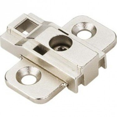 One 0mm Zinc Die Cast Cam Adjustable Mounting Plate without Euro Screws for 500 Series European - Cabinet 0mm