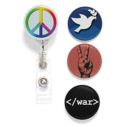 (Buttonsmith Peace Tinker Reel Retractable Badge Reel - with Belt Clip and Extra-Long 36 inch Standard Duty Cord - Made in The USA)