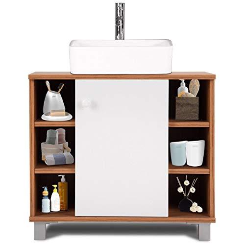 WATERJOY Non Pedestal Under Sink Vanity Cabinet, Space-Saver Bathroom Storage Cabinet Organizer (with 6 Cubes)