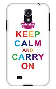 Case Fun Samsung Galaxy S4 (I9500) Case - Vogue Version - 3D Full Wrap - Multicoloured Keep Calm and Carry On