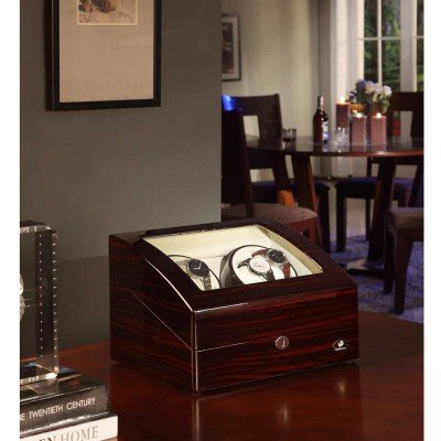 Domain 4 Piece (Nathan Direct Landers 10-Watch Lockable Watch Winder with 4 Automatic Winders, 6 Regular Watch Cushions, and 4 Program Settings, Mahogany)