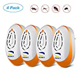 Ultrasonic Pest Repeller,Indoor Plug-in Repellent, 4-Pack,Upgraded Ultrasonic Pest Control,insect repellent Non-toxic for Humans & Pets ,Anti Mice, Mosquitos, Insects, Bugs, Ants, Spiders, Roaches, Rodents, Rats