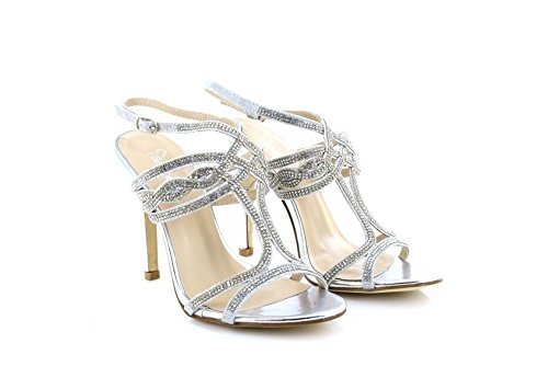 ShuCentre Womens Ladies Occasion Wedding Sparkle High Heel Ankle Strap Sandals Silver lYfv7g