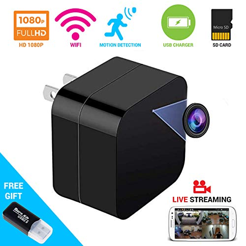 2 in 1 Spy Camera Wifi Wireless Hidden Cam With Audio and USB Charger – iREMARK 1080P HD Mini Security Surveillance Camera – Live View Covert Nanny Cam – Motion Activated – No Lags/No Frozen Streaming
