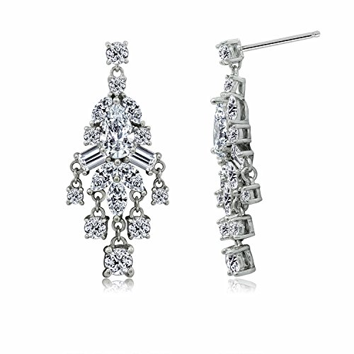 DIAMONBLISS Platinum Plated Sterling Silver Multi-Shape Cubic Zirconia Delicate Design Chandelier Earrings (Chandelier Shape Multi Earrings)