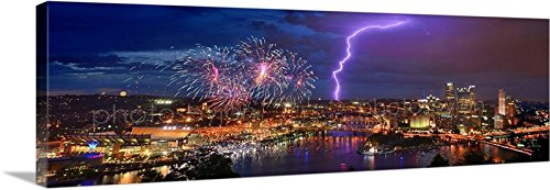 Pittsburgh Pirates Picture Frame (CANVAS Pittsburgh Skyline NIGHT 16 inches x 46 inches COLOR Fireworks Lightning City Downtown Photographic Panorama Print Photo Picture)
