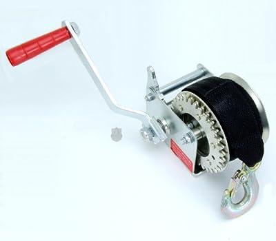 "Hand Crank Gear Winch 600 Pound 25' Nylon Strap, 1 -1/2"" Wide"