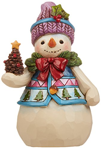 Jim Shore Heartwood Creek Pint-Size Snowman with Pinecone Stone Resin Figurine, -
