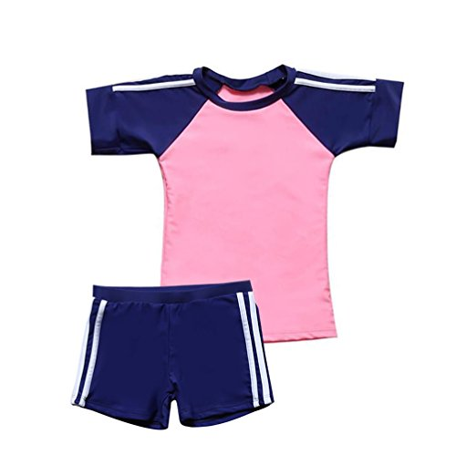 Big Girls Two Pieces Swimsuits Set Girls Rash Guards Bathing Suit Boy-Leg Shorts Swimwear UPF 50+ Pink (Leg Guard Set)
