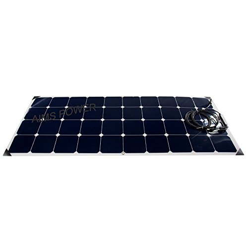 AIMS Power PVSLIM120 120W, 120 Watt Flexible Slim Solar Panel, Natural Organic by Aims