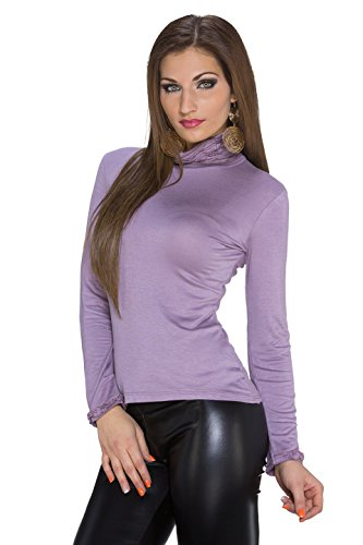 Fashion Plain de la mujer manga larga Top de manga larga Talla única malva
