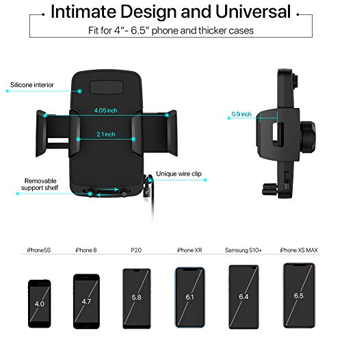Black Car Phone Mount Air Vent Cell Phone Holder for Car Compatible with iPhone Xs//Xs Max//XR//X//8//8 Plus//7//7 Plus Air Vent Phone Holder for car and Other Phones Galaxy S10//S10+//S9//S9+