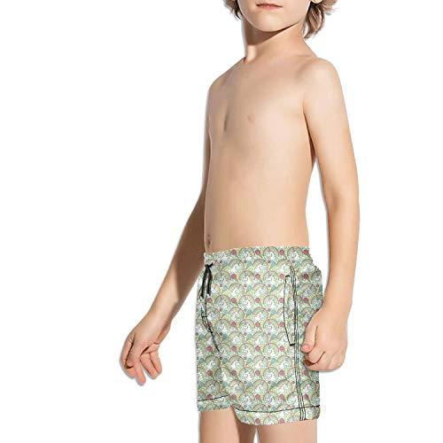 Kids Unisex Love Magical Rainbow Unicorn ice Cream Green Beach Swim Trunks Quick Drying Drawstring Shorts by Voslin (Image #2)