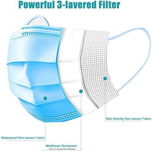 Ganci per orecchie elastici Possono essere usati per bloccare foschia//fumo//batteri//polline e altre particelle fini Leggeri e traspiranti Protezione a tre strati 100pcs maschere usa e getta