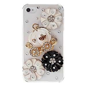 Conseguir 3d cesta de calabaza y flores patrón de la caja del diamante de cristal de plástico para el iphone 4/4s
