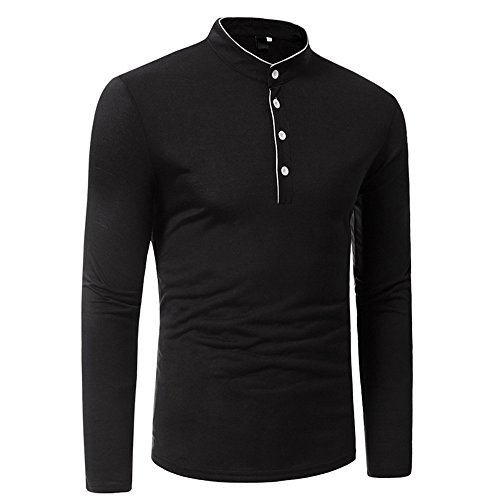 Men's Blouse ,Clearance Sale -Farjing Mens Long Sleeve Oxford Formal Casual Suits Slim Fit Tee Dress Shirts Blouse Top(XL,Black) by Farjing