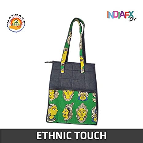 Buy Women's Multicolored Ethnic Kalamkari Handbag Handmade by Women Self  Help Group's of AP MEPMA at Amazon.in