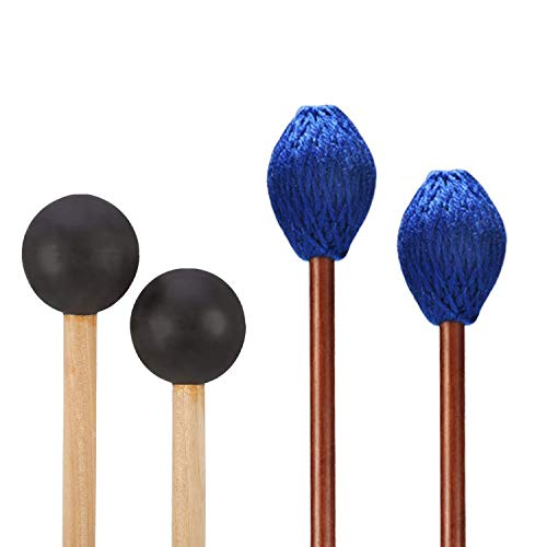 Medium Rubber Marimba Mallets - Fanrel 1 Pair Medium Hard Yarn Head Marimba Mallets and 1 Pair Rubber Mallet Percussion Bell Mallets Glockenspiel Sticks with with Wood Handle