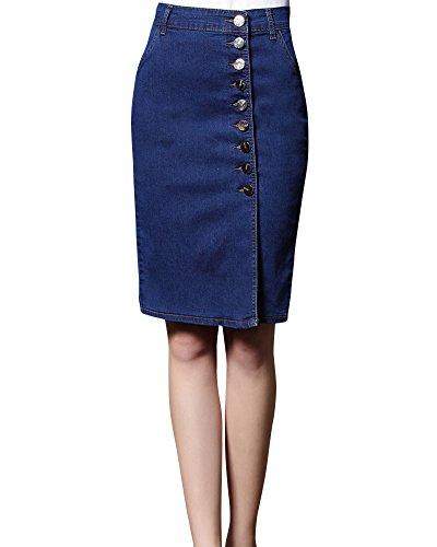 Jupe Jeans Bleu Taille Mini Retro Stretch Femme Haute Court Jupe Kasen Jupe Denim Fonc d't RapT8qw