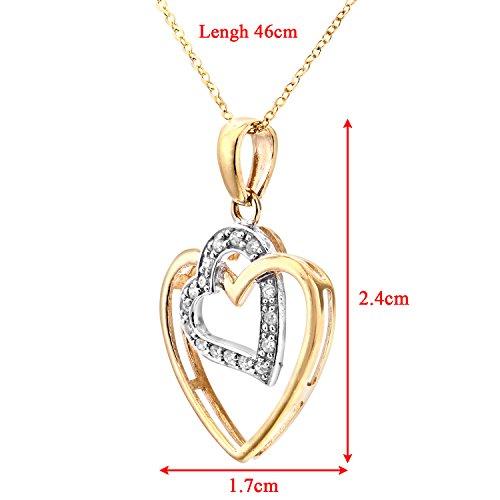 Revoni Bague en or jaune 9carats Diamant Pendentif Coeur Collier, chaîne 46cm