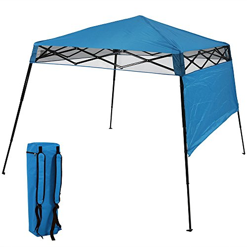 Awnings Portable - Sunnydaze Compact Quick-Up Slant Leg Instant Pop-Up Backpack Canopy, 6 x 6 Foot Top, 7.5 x 7.5 Foot Bottom, Blue