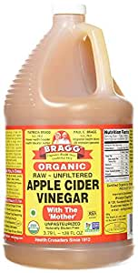 Bragg Organic Apple Cider Vinegar, Raw, Unfiltered, With The Mother, 128 oz