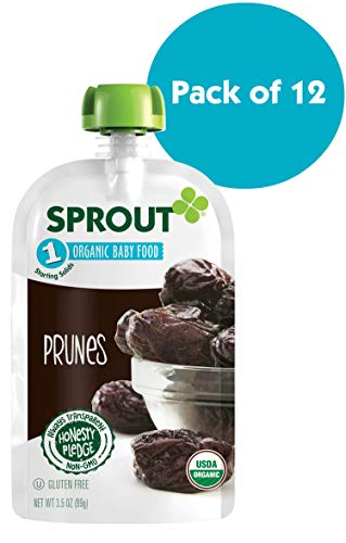 Sprout Organic Stage 1 Baby Food Pouches, Prunes, 3.5 Ounce (Pack of 12)
