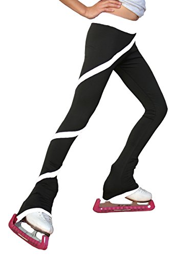 (Chloe Noel Figure Skating Spiral Pants P06 White Child Medium)