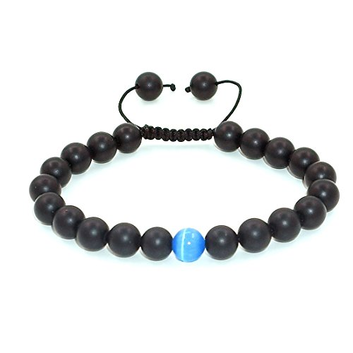 7th Element 8mm Mens Distance Bracelet Natural Beaded Precious Gemstones Handmade Adjustable Size (Black Matte Onxy)