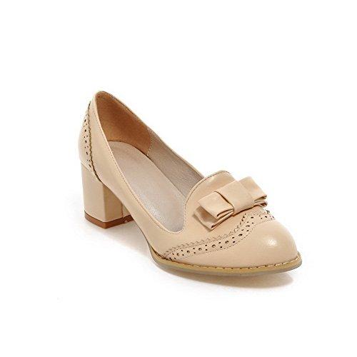 BalaMasa Girls slip-on low-heels solido in pelle goffrata pumps-shoes, Beige (apricot), 35