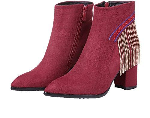Arraysa Women Abaaq 8CM Zipper Block Heel Boots Red Wine bEjNOp8