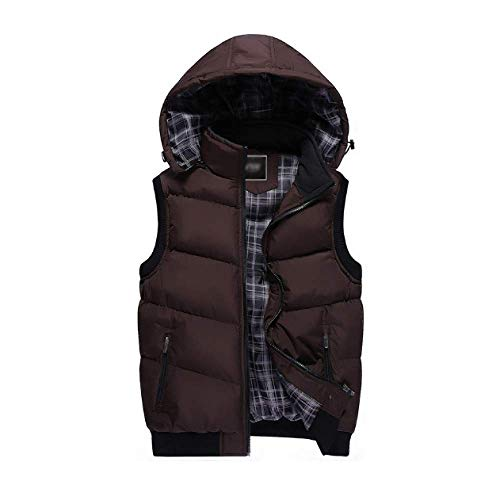 Down Vest Hooded DYLBD and Autumn Men Winter Slim Darkcoffee Casual x7Cp1Iqw