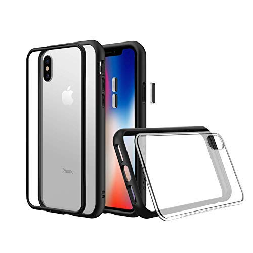 RhinoShield Modular Case for iPhone Xs [Mod NX] | Customizable Shock Absorbent Heavy Duty Protective Cover - Compatible w/Wireless Charging & Lenses - Shockproof Black Bumper w/Clear Back
