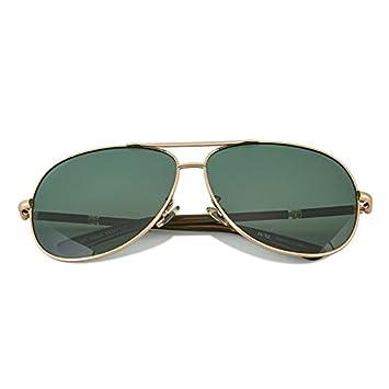 LANZHI Hombres Gafas de Sol Conducción Retro Deportes Polarizados Personalidad Deportes Confort Avant-Garde/, Marco de Oro Lentes Verdes: Amazon.es: ...