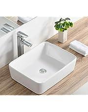 Bathroom Vessel Sink and Rectangular White Ceramic Porcelain Counter Top Vanity Bowl Sink