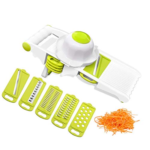 Green Cutter Vegetable - Mandoline Vegetable Slicer Cutter Chopper,Premium adjustable Fruit&Food slicer set with 5 stainless Steel Blades & Hand Protector Cutter for Patato, Onion, Cucumber, Zucchini ,Pasta, Cheese-Green