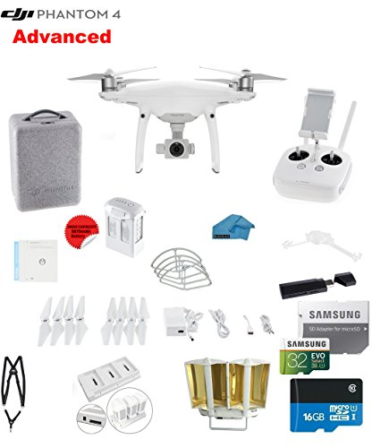 DJI Phantom 4 ADVANCED Quadcopter Drone with 1-inch 20MP 4K Camera KIT + 32GB Micro SDXC Card + Universal Card...
