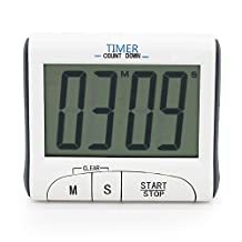 Large LCD Display Cooking Digital Countdown Count Up Down Loud Alarm Kitchen Timer / Sport Stopwatches with Clock Function, White