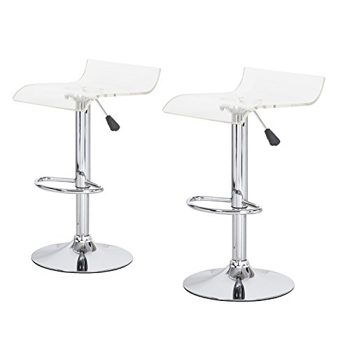 Joveco Clear Acrylic Adjustable Barstool with Micro Back, Chrome Finish and Pedestal Base - Set of (Acrylic Adjustable Bar Stools)