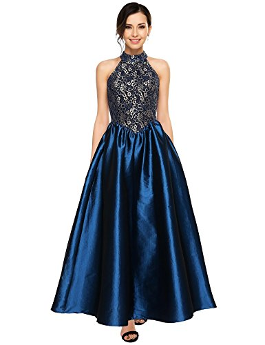 ANGVNS Women's Halter Floral Lace Evening Ball Gown Long Formal Party Prom Dress (Dress Satin Floral)
